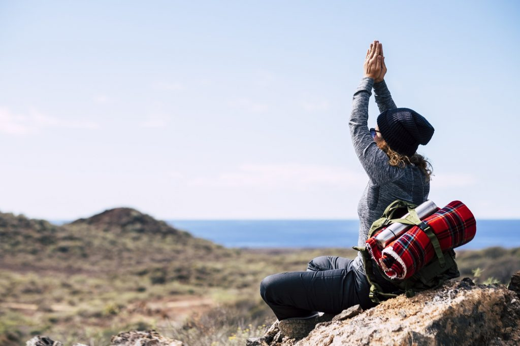 Mindfulness exercise during outdoor leisure trekking activity